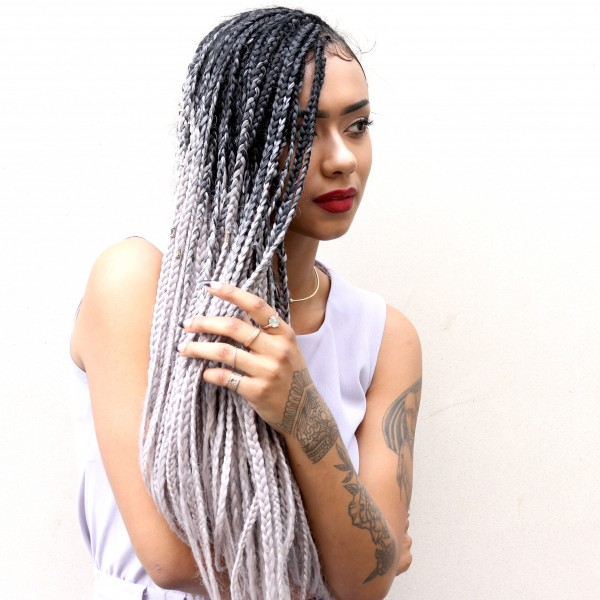 Silver Grey Crochet Braids Short Hairstyle 2013