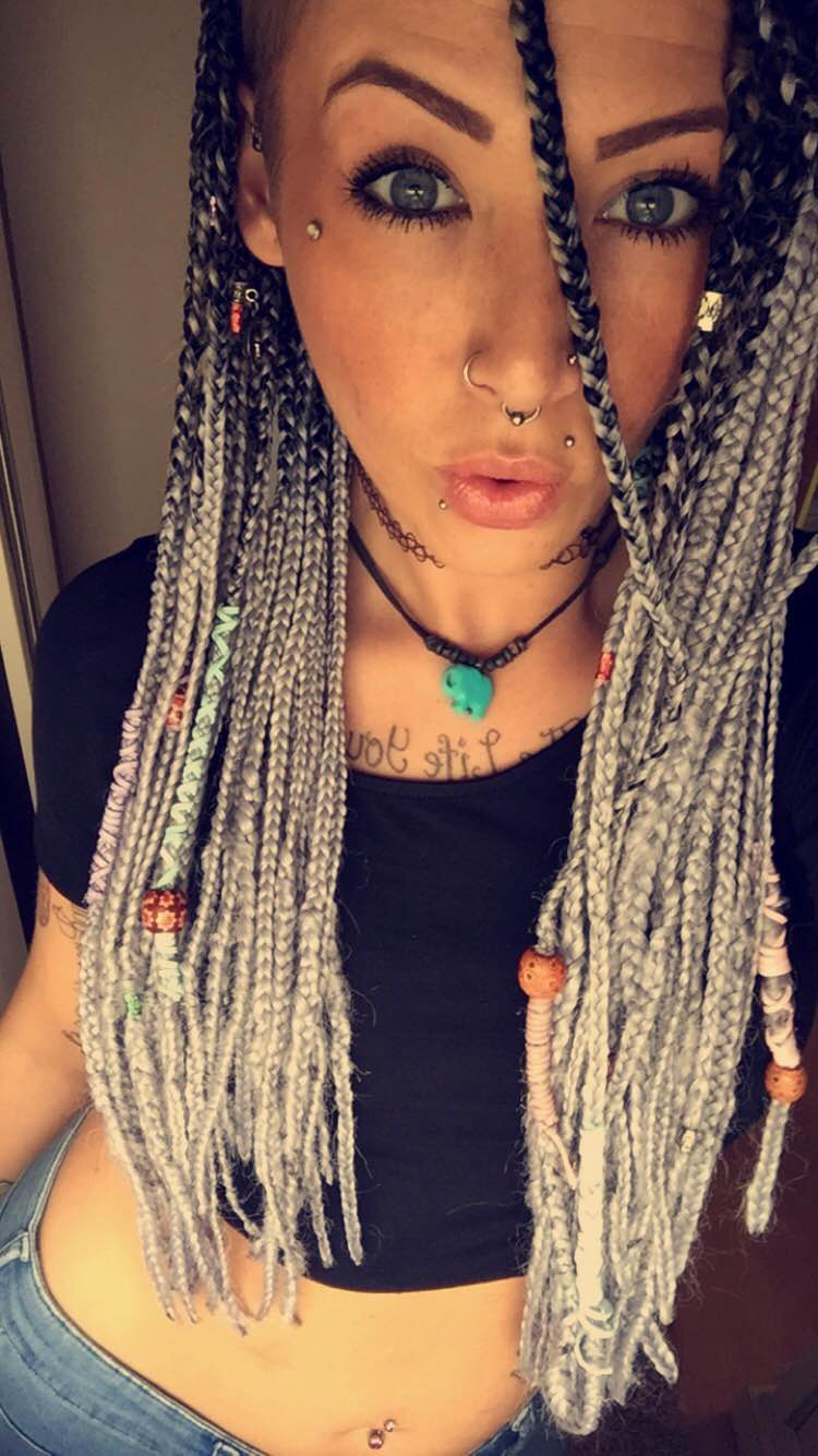 Black and Grey Ombre Braiding Hair